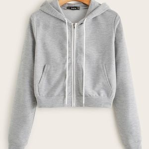 Jackets & Blazers - Heathered Knit Zip-Up Drawstring Hoodie